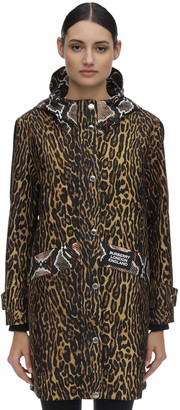 Burberry Leopard Print Hooded Nylon Rain Coat