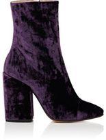 Dries Van Noten Women's Cap-Toe Velvet Ankle Boots-PURPLE