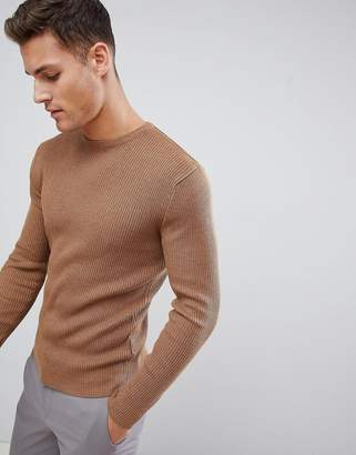 French Connection Muscle Fit Crew Neck Rib Jumper-Brown