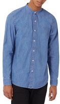 Topman Men's Band Collar Denim Shirt