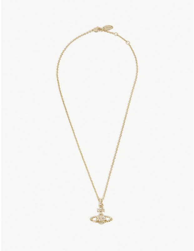 Vivienne Westwood Ladies Crystal Ab Gold Animal Print Mayfair Orb Necklace, Size: 47cm