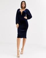 Asos Design DESIGN velvet balloon sleeve plunge wired bodycon midi dress