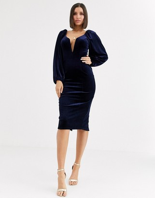 Asos Design DESIGN velvet balloon sleeve plunge wired bodycon midi dress-Navy