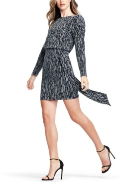 Aidan Mattox Puff-Sleeve Metallic Knit Sheath Dress