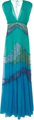 Alberta Ferretti Pleated Embroidered Silk Maxi Dress
