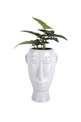 The Sue Parkinson Home Collection - Long Mask Face Plant Pot In White