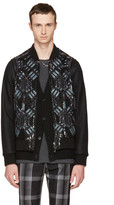Valentino Black Embroidered Sequin Love Blade Bomber Jacket