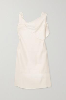 AAIZÉL Draped Linen-blend Dress - Off-white