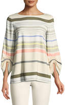 Lafayette 148 New York Elisio Mesa Stripe Ruched-Sleeve Blouse