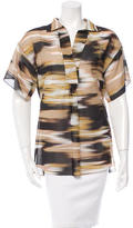 Akris Abstract Print Gathered-Accented Top