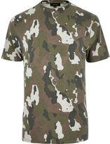 River Island MensKhaki camo marl T-shirt