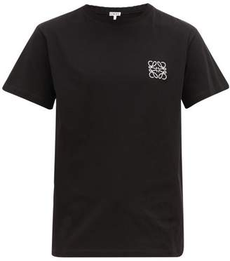 Loewe Anagram-embroidered Cotton-jersey T-shirt - Mens - Black