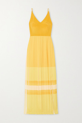 Akris Pleated Color-block Silk Maxi Dress - Yellow
