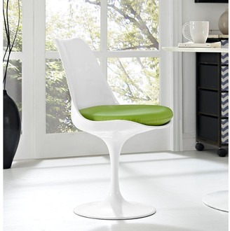 Bsd National Supplies Venice Tulip Style Swivel Dining Chair with Green Vinyl Cushioned Seat