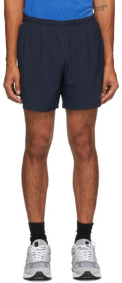 New Balance Navy and Green Impact Run 5-Inch Shorts