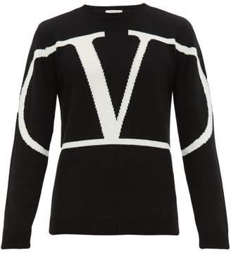 Valentino Intarsia Logo Cashmere Sweater - Mens - Black