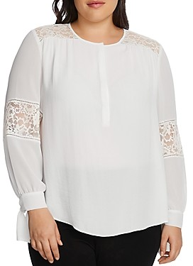 Vince Camuto Plus Lace Detail Tie-Cuff Top