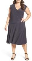 Nic+Zoe Plus Size Women's Matte Jersey Faux Wrap Fit & Flare Dress