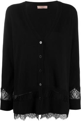 Twin-Set lace-embellished V-neck cardigan
