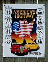 Route 66 America's Highway Tin Sign 13 x 16in