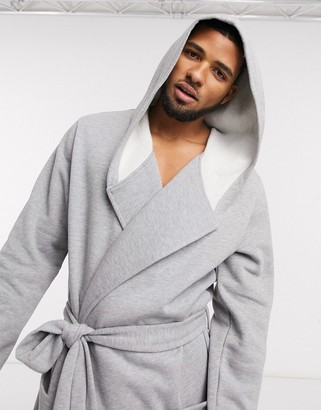 ASOS DESIGN long robe in super soft gray jersey