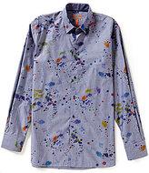 Visconti Long-Sleeve Splatter Paint Print Woven Shirt