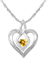 JCPenney FINE JEWELRY Love in Motion Genuine Citrine & Diamond-Accent Sterling Silver Heart Pendant