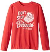 Life is Good Don't Stop Believin' Santa Long Sleeve Crusher Tee Boy's Long Sleeve Pullover