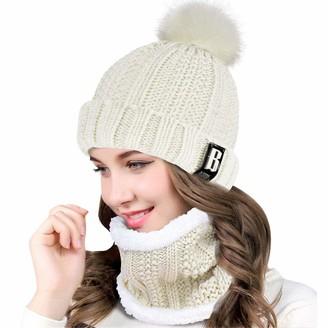 heekpek Womens Winter Beanie Hat Scarf Set Outdoor Sports Hat Sets for Women Fur Pom Pom Thick Knitted Skull Cap for Girls (Black)