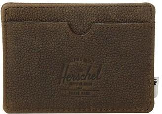 Herschel Charlie + Tile (Black Pebbled Leather) Wallet Handbags