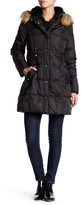 DKNY Faux Fur Trim Side Tab Puffer