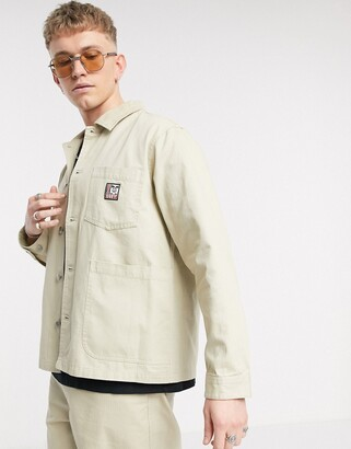 Obey Pebble chore jacket in stone
