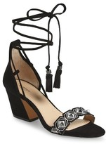 Botkier Women's Penelope Embroidered Ankle Wrap Sandal