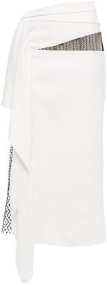Roland Mouret Kelly Lace-paneled Draped Cady Midi Skirt