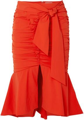 Rebecca Vallance Brescia Fluted Tie-front Ruched Poplin Skirt