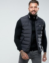 Fred Perry Padded Gilet In Black