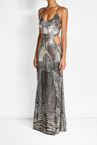 Roberto Cavalli Sequin Embellished Floor Length Dress with Cut-Out Detail