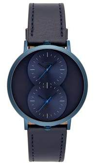 Uri Minkoff Griffith Blue Ion Plated Tone Blue Strap Watch, 43MM