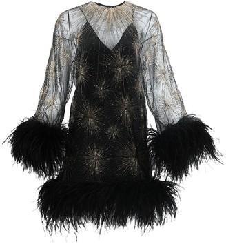 Saint Laurent Black And Gold Feathered Mini Dress