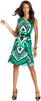 INC International Concepts Dress, Cap-Sleeve Printed Belted A-Line