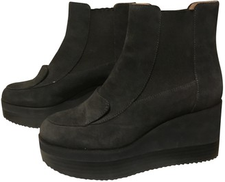 Jil Sander Anthracite Suede Ankle boots