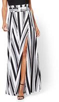 New York & Co. Paper Bag-Waist Maxi Skirt - Black & White Stripe