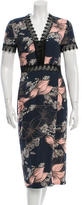 Yigal Azrouel Lace-Trimmed Floral Print Dress w/ Tags