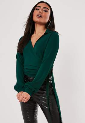 Missguided Green Tie Side Blouse