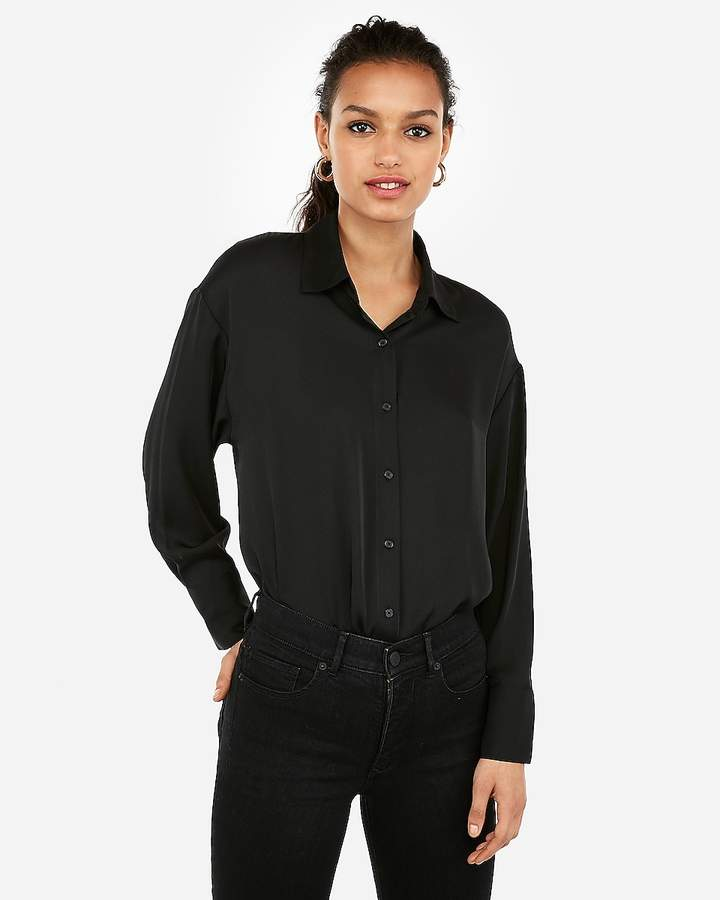 5a0ba7329fe6c Black Button Up Shirt Women - ShopStyle