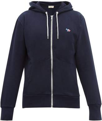 MAISON KITSUNÉ Tricolour Fox Applique Cotton Hooded Sweatshirt - Mens - Navy