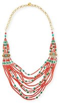 Devon Leigh Beaded Multi-Strand Necklace, Red