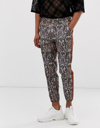 Asos Edition EDITION slim crop smart trousers in jacquard paisley with metallic thread-Brown