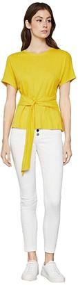 BCBGMAXAZRIA Wrap Front Knit Top (Sulphur) Women's Clothing