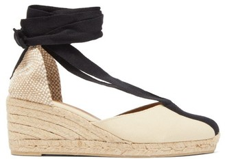 Castaner Corina 60 Canvas & Jute Espadrille Wedges - Womens - White Black